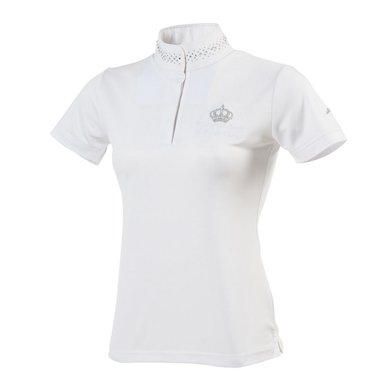 Equithème Poloshirt Couronne Korte Mouwen Wit/Zilver