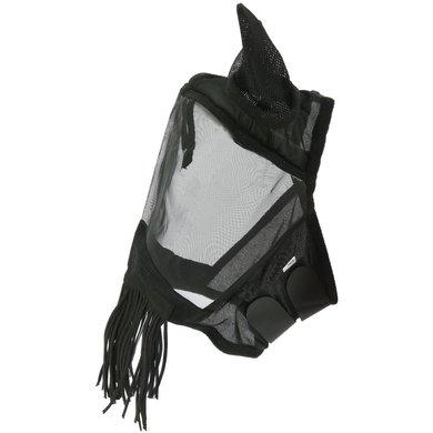EQUITHÈME Vliegenmasker Franges met Oren Zwart Full