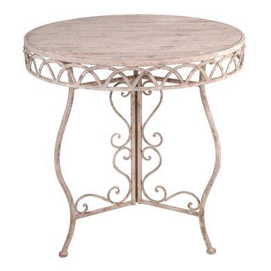 esschert aged metal tisch rund mit holz. Black Bedroom Furniture Sets. Home Design Ideas