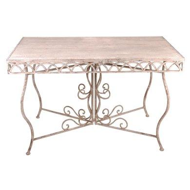 esschert aged metal tisch eckig mit holz. Black Bedroom Furniture Sets. Home Design Ideas