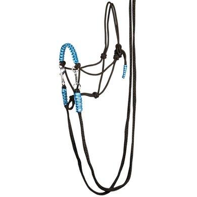 Harrys Horse Rij.touwhalster met teugels Zwart/blauw full
