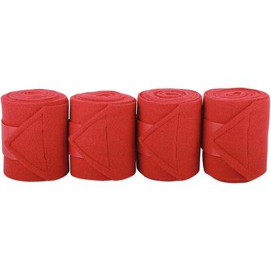 Harrys Horse Bandages Fleece 4pc Rouge 3m 4 Pièce