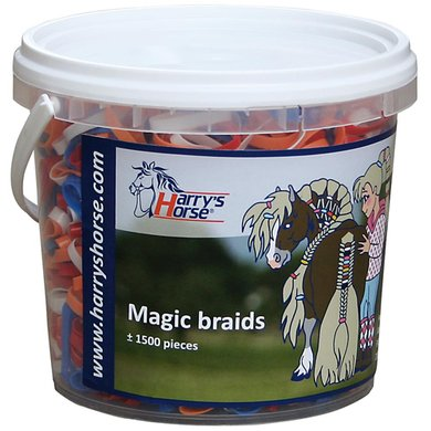 Harrys Horse Petits Élastiques Magic Braids Pot Rouge/Blanc/Bleu/Orange