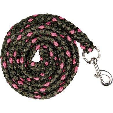 HKM Corde pour Licol Survival avec Mousqueton Olive/Vert Foncé/Rose Néon 180cm