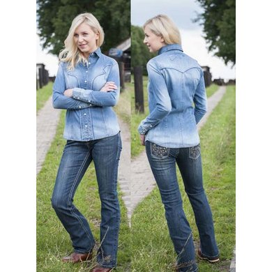 HKM Western Jeans Bootcut Studs Donker blauw
