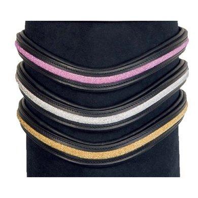 HKM Frontriem Glitter Zwart/Roze