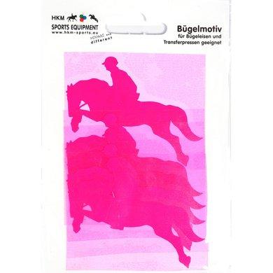 Strijkmotief Springruiter Neonframboos 5st