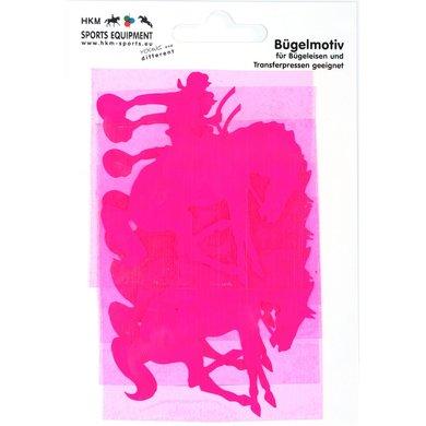 Strijkmotief Western Neonframboos 5st