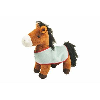 Hkm Groot Staand Pluche Paard Met Deken Bruin