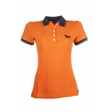 Hkm Pro Team Polo Shirt Running Horse Oranje L