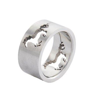 HKM Ring met Galopperend Paard RVS