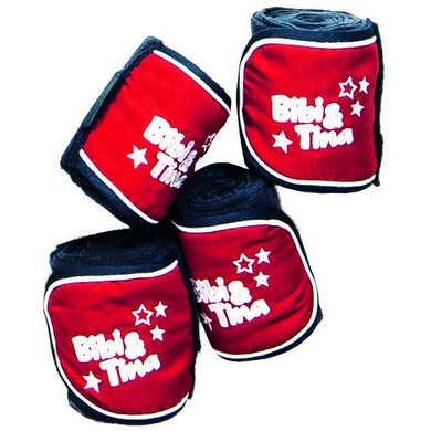 Bibi & Tina Fleecebandages Set Van 4 donkerblauw/rood