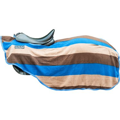 HKM Zweetdeken Kleur Stripes Klitband Blauw/beige 115/165