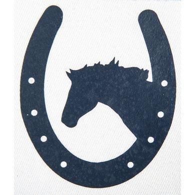 Strijkmotief Hoefijzer Met Paard Marineblauw