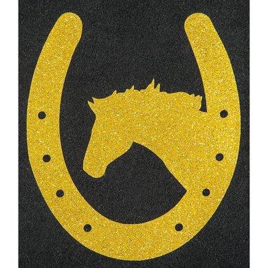 Strijkmotief Hoefijzer Met Paard Goud Flex Moda Glitter 5st