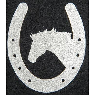 Strijkmotief Hoefijzer Met Paard Zilver Flex Moda Glitter