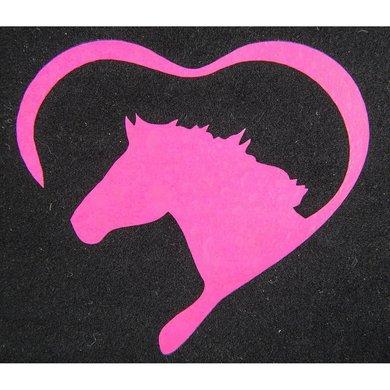 Strijkmotief Hart Met Paard Neonframboos