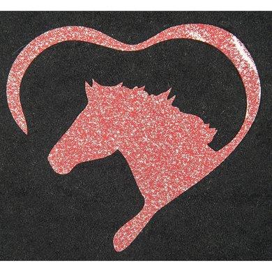 Strijkmotief Hart Met Paard Rood Flex Moda Glitter 5st