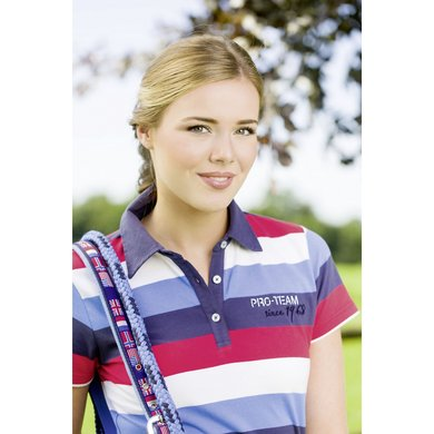 Hkm Pro Team Poloshirt Inter Stripe Wit/ Mblauw/ Rood 164