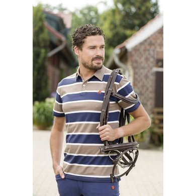 Kingston Poloshirt San Francisco Stripe Dblauw/taupe Xxl