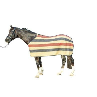 Hkm Zweetdeken Wool Stripes Camel/ Marineblauw/ Rood 155/205