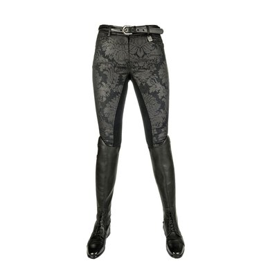 Hkm Rijbroek Denim Black Flower 3/4 Alos Zwart 40