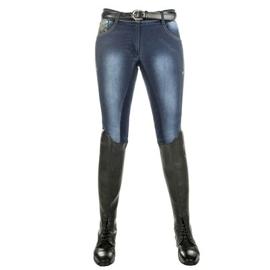 Hkm Pro Team Rijbroek Flash Jeggings 3/4 Alos Zit Jblauw 134