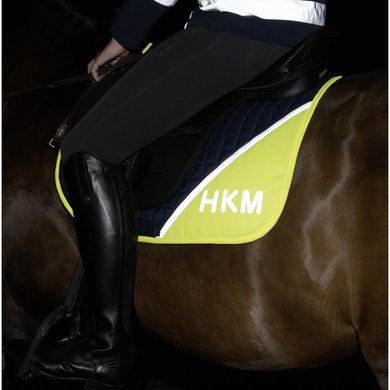 Hkm Zadeldekje Safety Navy/neon Geel Pony Dressuur