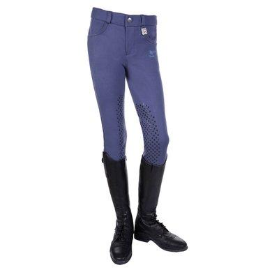 Hkm Rijbroek Kids Easy Silicoon Knievlakken Jeansblauw 146
