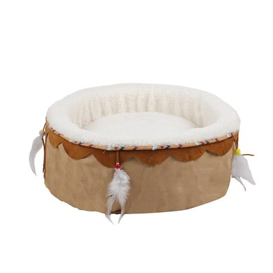 All For Paws Dream Catcher Round Cuddler Bed Beige