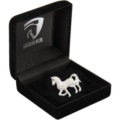 Horka Plastronspeld Glitter Paard Zilver