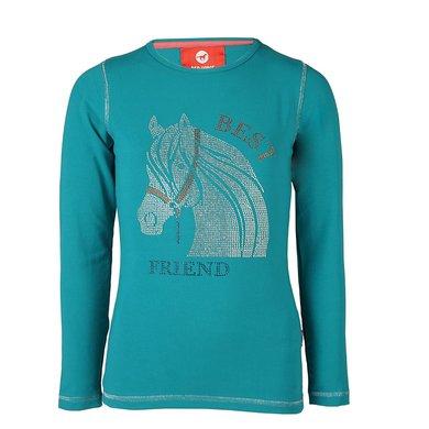 Red Horse Shirt Flash Long sleeved Seablue 104