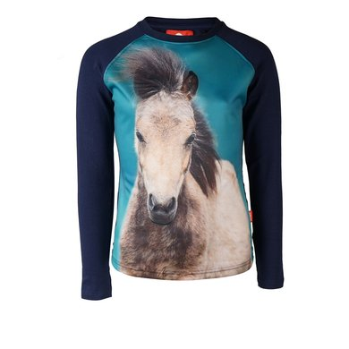 Red Horse Shirt Pixel Long Sleeved Dark Marine