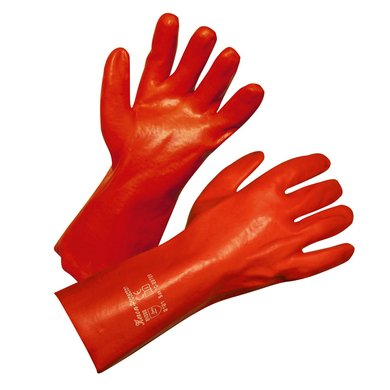 Keron Schutzhandschuh PVC Protecton 35cm lang, Rot/Braun 10