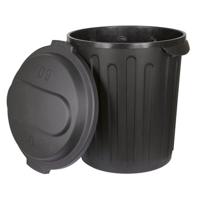 Kerbl Feed Bin with Lid Black 60l