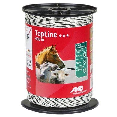 Ako Fil de Clôture Topline 400m Blanc/Noir 6x0,25mm