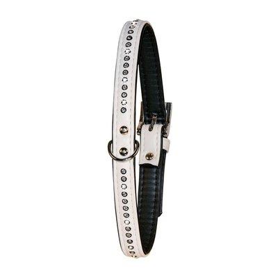 Kerbl DIAMOND Strasshalsband, 14 mm, Kunstleder Weiß 19-24cm