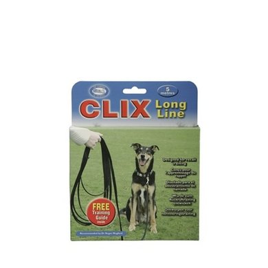 Clix Terugroeplijn Hond Zwart 5m