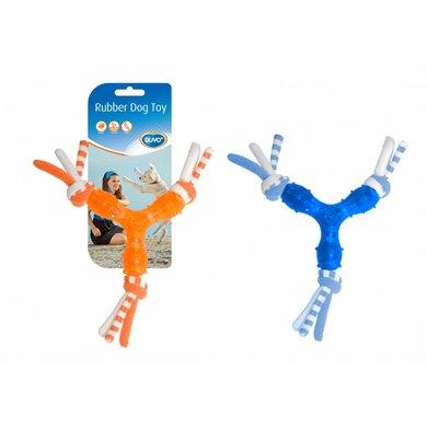 Duvo+ Dogtoy Toss Tugger Triangle Oranje/blauw 20x20x3,5cm