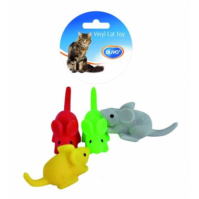 Duvo+ Cattoy Vinyl Muisjes Mix Rood/geel 9x4x4cm