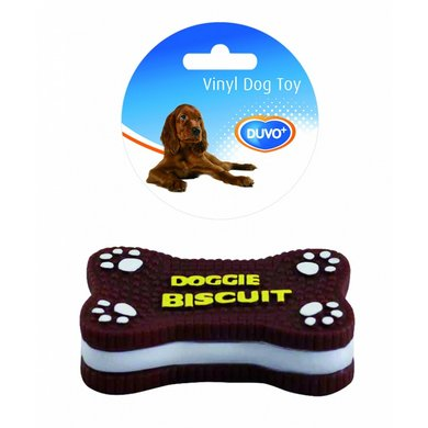 Duvo+ Dogtoy Vinyl Food Doggie Biscuit Bruin 12x7,5x3,5cm