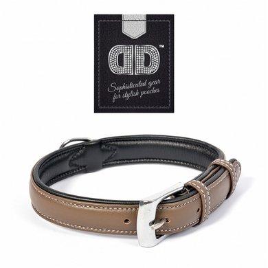 Duvo+ Comfy Leder Halsband taupe/zwart