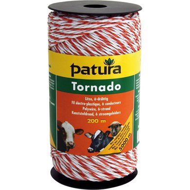 Patura Tornado Kunststofdraad Wit/Oranje 400m