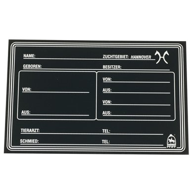 Pfiff Hannoverian Breed Stable Plate Black