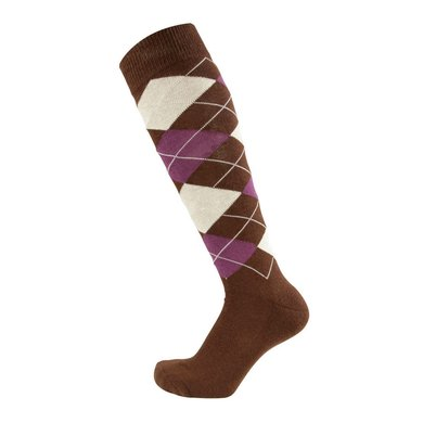 Pfiff Checked Riding Socks Green-Pink-Pink Chequered