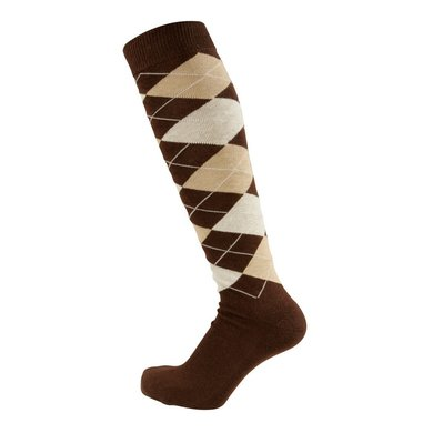 Pfiff Checked Riding Socks Brown Beige 34-36