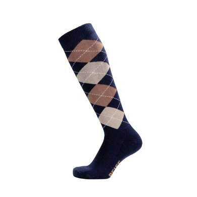 Pfiff Checked Riding Socks Blue/Beige