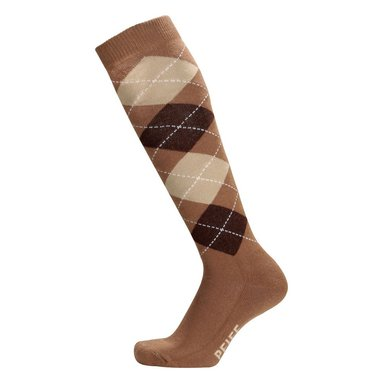 Pfiff Checked Riding Socks Beige/Brown