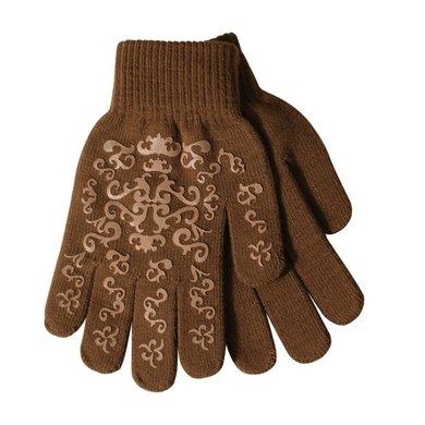 Pfiff Elasticated Gloves Print Brown Beige