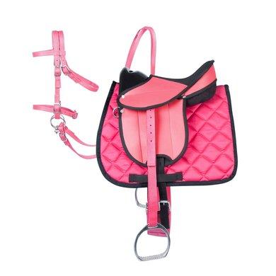 Pfiff Complete uitrustingsset Zwart/roze Shetty